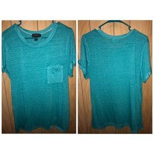 Forever 21- Aqua Shirt with Pocket- 1X